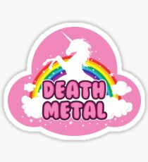 DEATH metal parody funny unicorn rainbow  Sticker