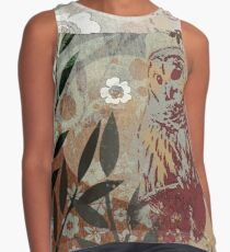 Graphic Barred Owl and White Flower Collage Contrast Tank
