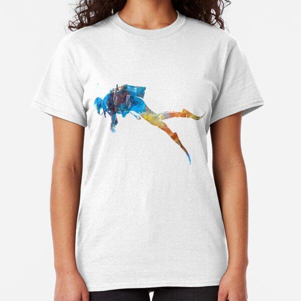 Man scuba diver 01 in watercolor Classic T-Shirt