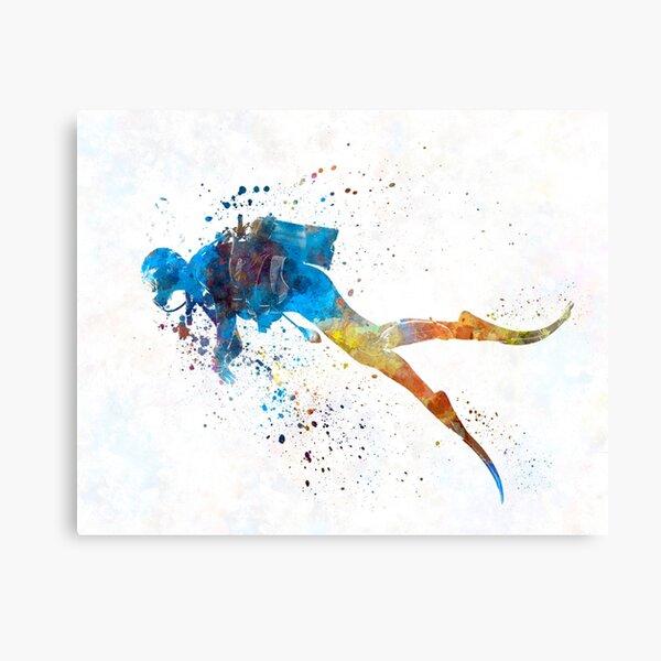 Man scuba diver 01 in watercolor Canvas Print