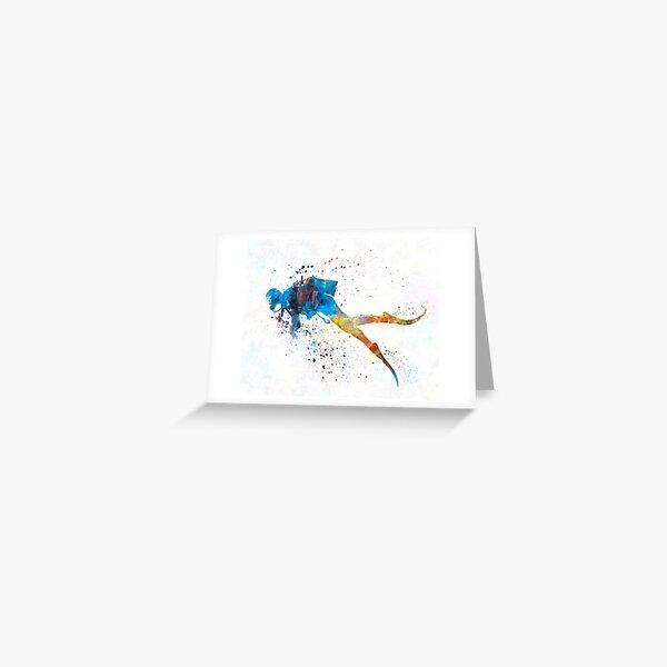 Man scuba diver 01 in watercolor Greeting Card
