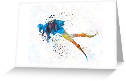 Mann-Sporttaucher 01 im Aquarell von paulrommer