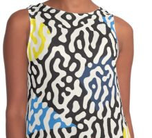 Jumble Black and White Drips And Color Polygons Pattern Contrast Tank