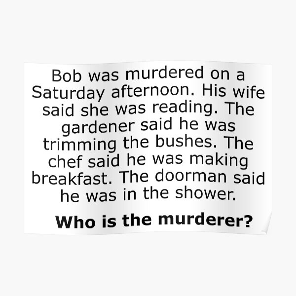 Complex Riddle - Murder Chef Doorman and Gardener Poster