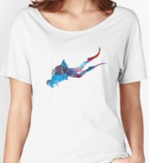 Man scuba diver 03 in watercolor Women's Relaxed Fit T-Shirt