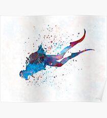 Man scuba diver 03 in watercolor Poster