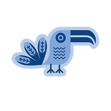 Tucán azul, pájaro, de boom-art