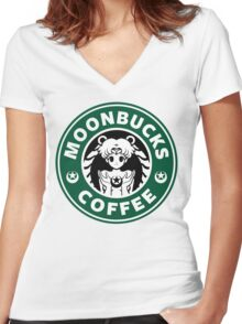 Moonbucks Coffee Women's Fitted V-Neck T-Shirt