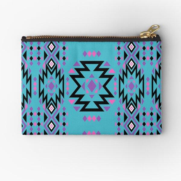 Pink, Purple, and Black Geometric Pattern - Dark Turquoise  Zipper Pouch