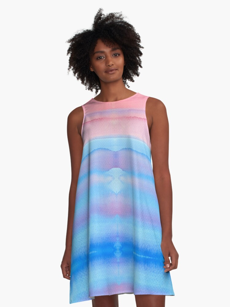 Hand-Painted Watercolor Blue Pink Ombre Gradation A-Line Dress Front