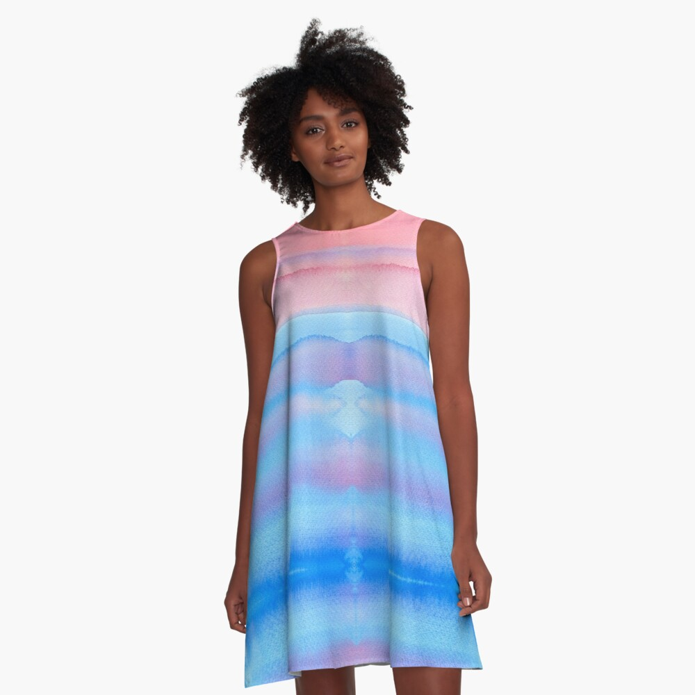 Hand-Painted Watercolor Blue Pink Ombre Gradation A-Line Dress