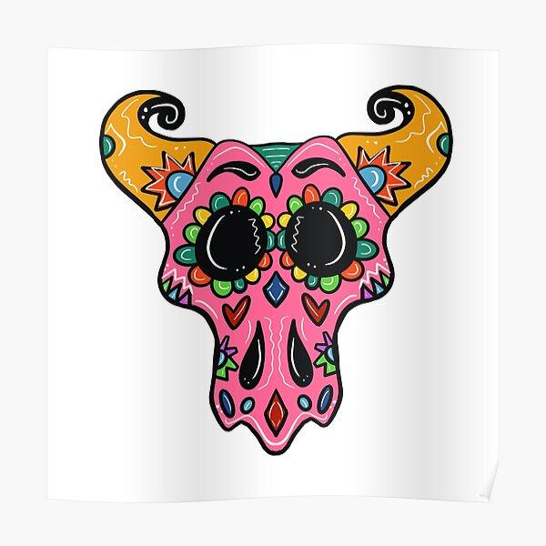 Sugar Skull Longhorn with black background  Poster