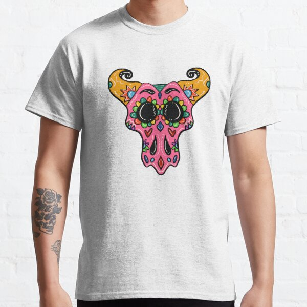 Sugar Skull Longhorn with black background  Classic T-Shirt