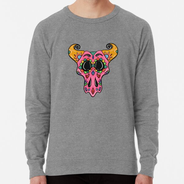 Sugar Skull Longhorn with black background  Lightweight Sweatshirt