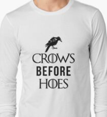 Crows Before Hoes in White Long Sleeve T-Shirt