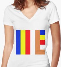 Buddhism Flag Women's Fitted V-Neck T-Shirt