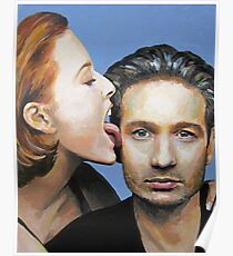 David Duchovny Gillian Anderson X Files Lick Pic Painting Poster
