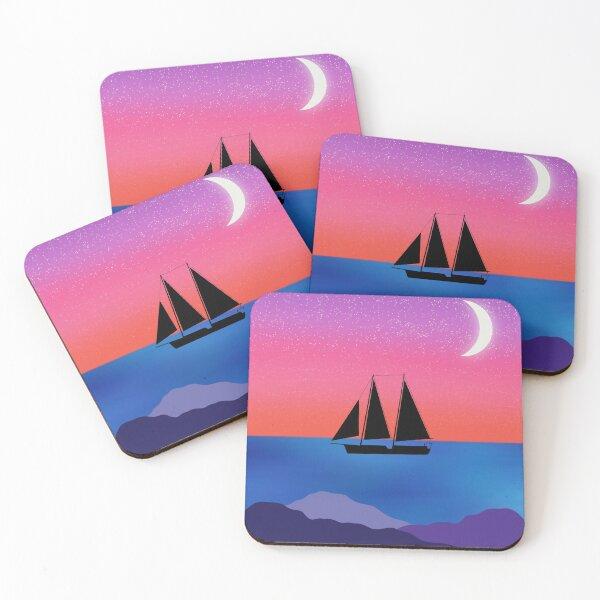 Sailboat at Night Coasters (Set of 4)