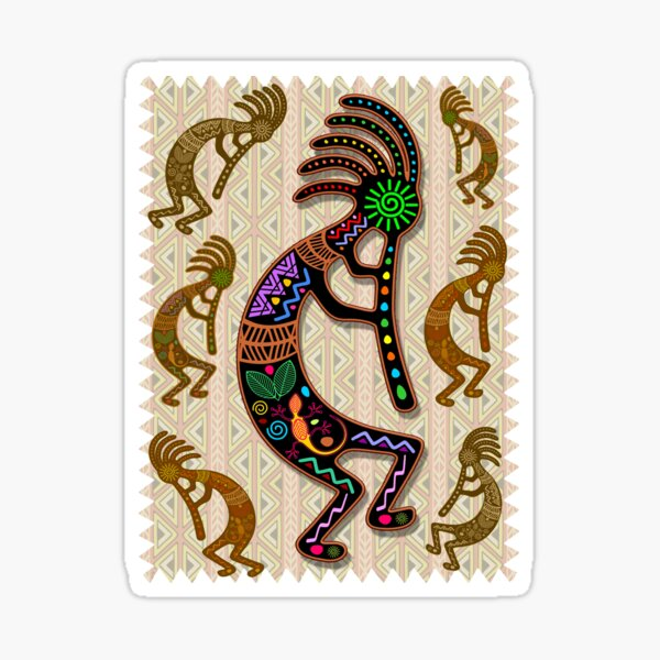 Kokopelli Rainbow Colors on Tribal Pattern  Sticker