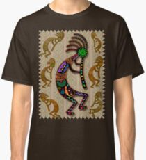Kokopelli Rainbow Colors on Tribal Pattern  Classic T-Shirt