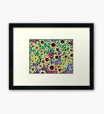 'Arrangement of Greens, Yellow, Purple and Red' Framed Print