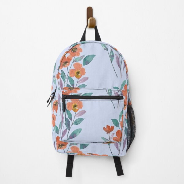 Orange flowers with blue and purple leaves Backpack