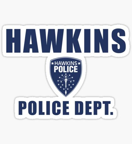 Hawkins Indiana Police Department Shield Sticker