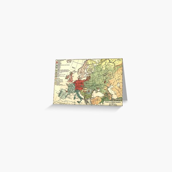 Vintage Linguistic Map of Europe (1907) Greeting Card