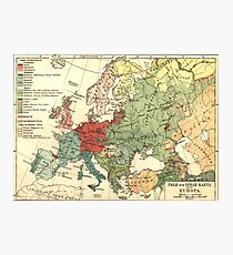 Vintage Linguistic Map of Europe (1907) Photographic Print