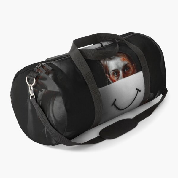 The depressed girl is holding a smile pint paper, the depressed girl, Depression issue Duffle Bag