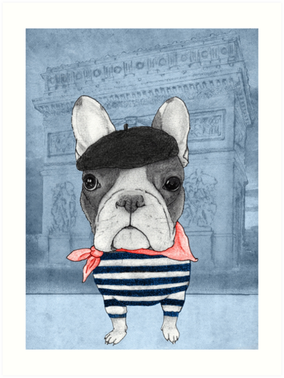 French Bulldog in front of Arc de Triomphe. by barruf