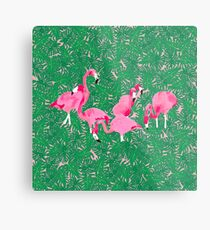 Flamingos on delicious monsters Metal Print