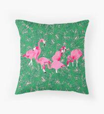 Flamingos on delicious monsters Throw Pillow