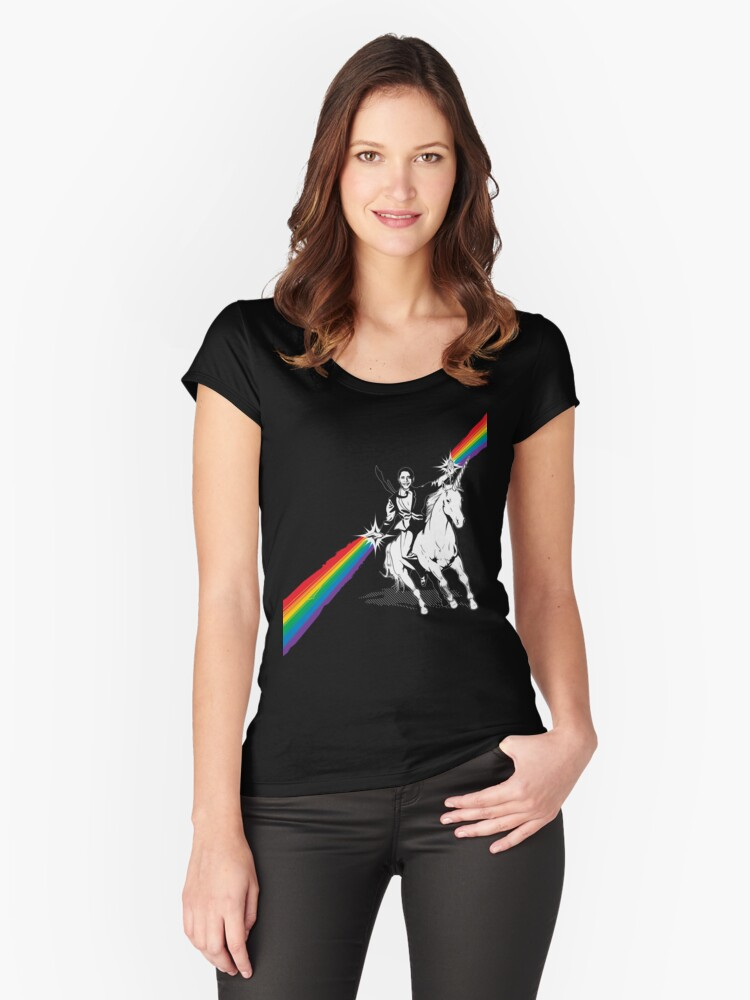 Obama Unicorn Rainbow Pride Women's Fitted Scoop T-Shirt Front
