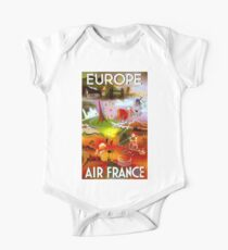 """""""AIR FRANCE"""" Fly to Europe Advertising Print One Piece - Short Sleeve"""
