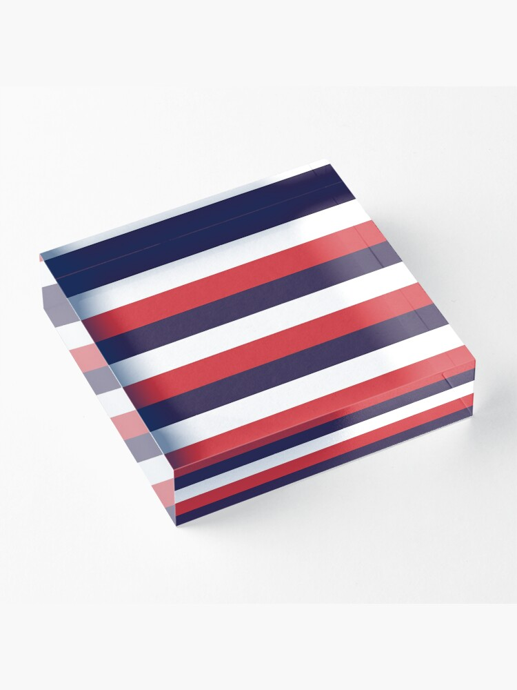 Alternate view of 3 Large RED NAVY BLUE and WHITE Horizontal STRIPES Acrylic Block