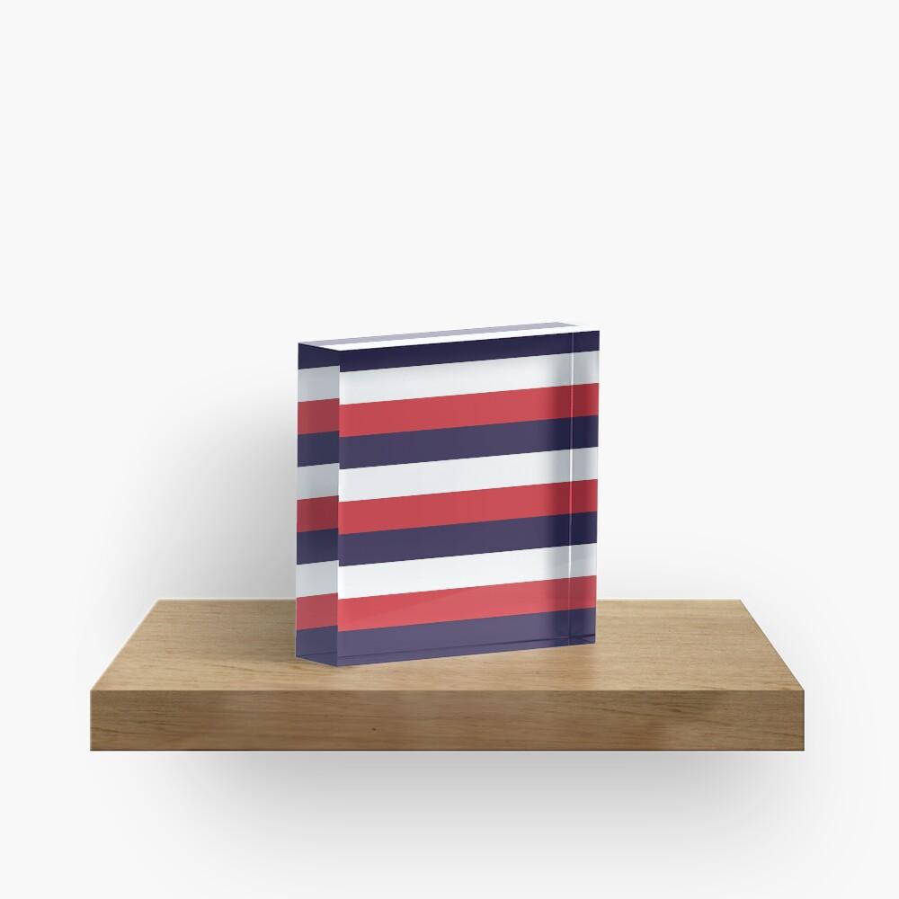 3 Large RED NAVY BLUE and WHITE Horizontal STRIPES Acrylic Block