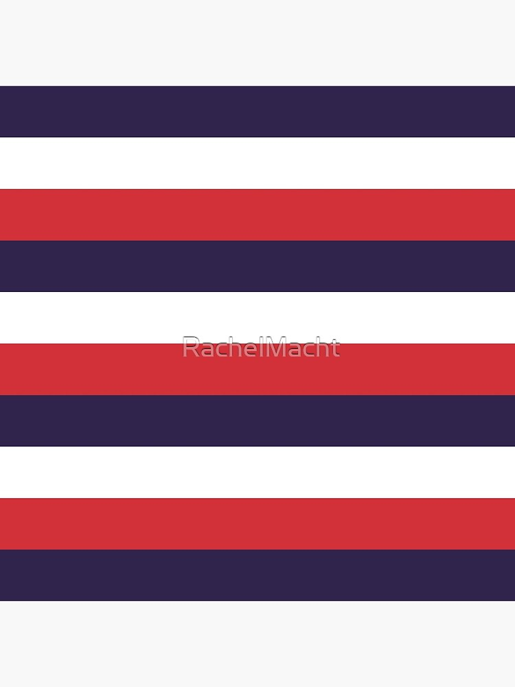 3 Large RED NAVY BLUE and WHITE Horizontal STRIPES by RachelMacht