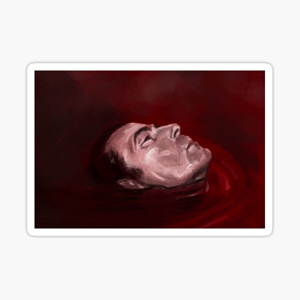 Dracula floating in blood (Claes Bang) Sticker