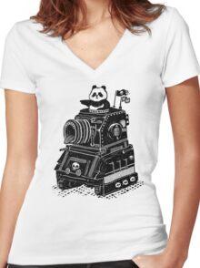 Panda's Skull Tank Vintage Style Women's Fitted V-Neck T-Shirt
