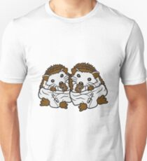 siblings brothers sisters twins 2 children babies diaper pacifier sitting round child baby offspring sweet little cute hedgehog Unisex T-Shirt