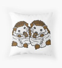 siblings brothers sisters twins 2 children babies diaper pacifier sitting round child baby offspring sweet little cute hedgehog Throw Pillow