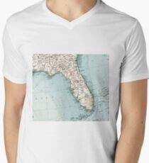 Vintage Map Of Florida 1900 Mens V Neck T Shirt