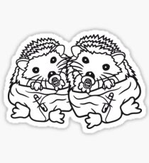 siblings brothers sisters twins 2 children babies diaper pacifier sitting round child baby offspring sweet little cute hedgehog Sticker