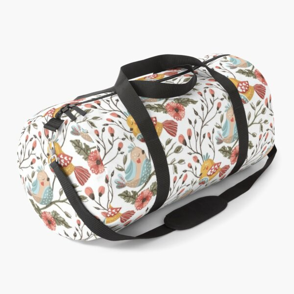 Whimsical  Art Water Color Botanical Pattern of Birds and Flowers Duffle Bag