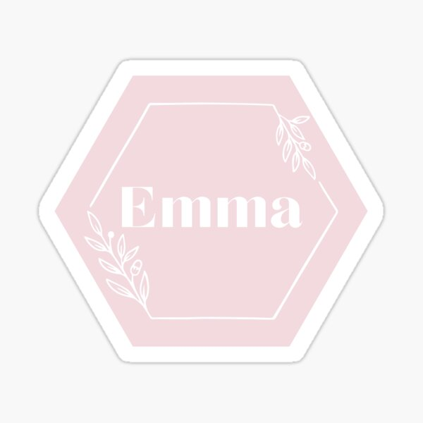Pink nude hexagon Emma name sign Sticker