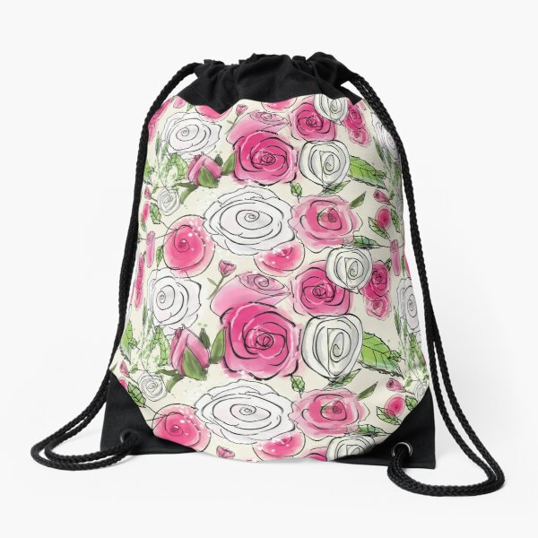 Sketchy Roses: Cute Pink and White Rose Floral Pattern Drawstring Bag