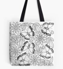 Migratory Glider and passion fruit flowers Tote Bag