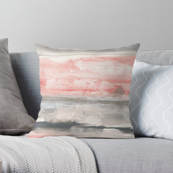 Charcoal And Coral Throw Pillow