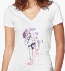 Women in Martial Arts  Women's Fitted V-Neck T-Shirt